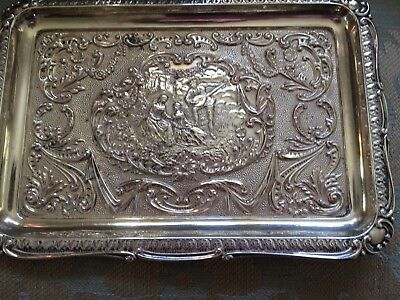 Antique Solid Silver Large Figural Pin Tray Hallmarked B/ham 1900