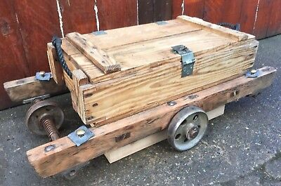 Vintage Antique Chest Trunk Mill Trolly Coffee Table Industrial Architectural