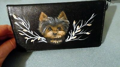 Hand Painted Yorkie Yorkshire  Terrier Checkbook cover