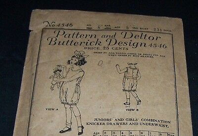 Antique Child Pattern-Butterick #4546-Girl Age 5-Knicker Drawers-Underwear