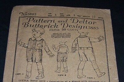 1920's Antique Child Pattern-Butterick #5885-Boy-Age 3-Shirt-Pants-Complete