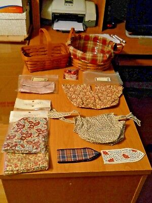2 Longaberger 1990 Market-19 Darning Baskets With 6 New Liner/ties-Sewing Notion