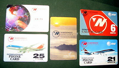 Northwest Airlines Courtesy Phone Cards - 5 different. - Expired.