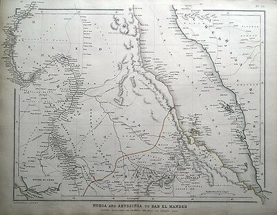 SAUDI ARABIA, RED SEA, ERITREA, MIDDLE EAST Sharpe original antique map 1849