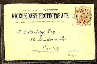 Niger Coast Proctectorate  (P1012B) 1895 Psc Sapele To Cardiff No Msg