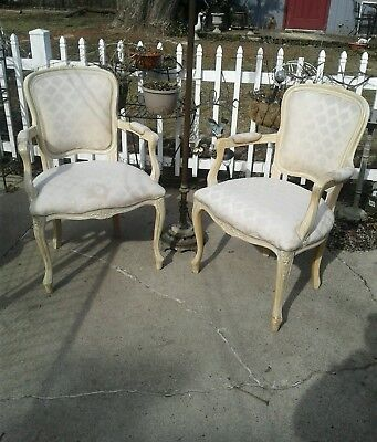 Merveilleux Pair Of French Provincial Upholstered Side Arm Chairs Off White Needs Tlc  Plus