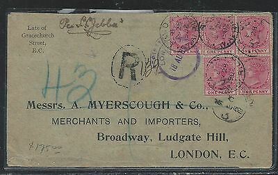 Lagos (P2709B) 1902 Qv 1Dx5 On Reg Cover To London