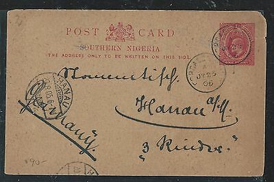 Southern Nigeria (P0408B) Ke 1D Psc To Germany 1905 With Msg
