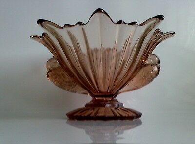 "Art Deco STS Abel Large Pink Glass Bowl ""Doves"" Handles."