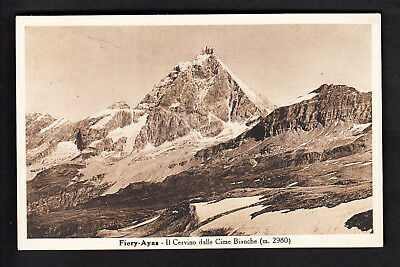 FIERY - AYAS (AOSTA) - IL CERVINO DALLE CIME BIANCHE - Cartolina fp viagg. 1943