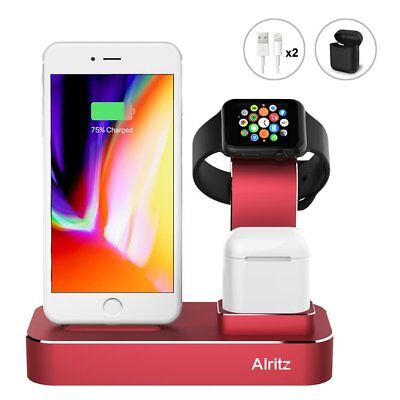 Apple Watch Red Charging Stand Aluminum iPhone X/8/7 Dock Station AirPods Holder