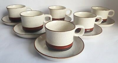 Vintage Denby 'Potters Wheel' Tea Cup & Saucer x 6, Designed by David Yorath