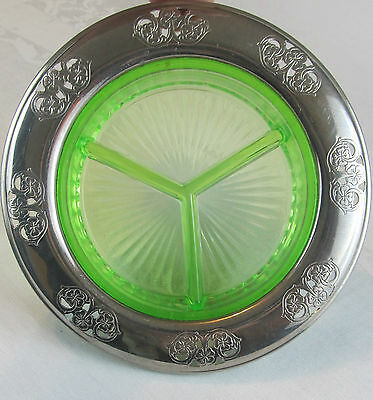 Antique  Vintage Farberware Green  Depression Glass Dish From 1930