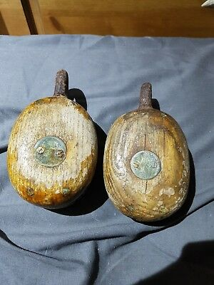 2 Vintage Wooden  Ships Boat Pulley  Maritime Nautical Marine