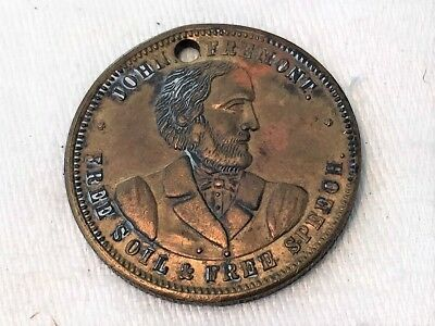 John Freemont Free Soil & Free Speech 1856 Anti Slavery Campaign Token Medal