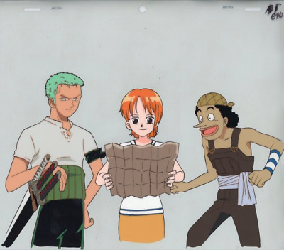 Zoro Nami Usopp 3 Official Production Cels + 5 Gengas from One Piece First Movie