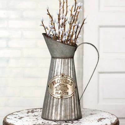 Country Rustic Farmhouse Metal Flower Container Tall Pitcher with Handle Home