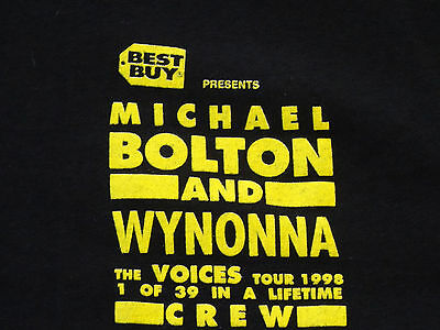 Michael Bolton Wynonna vintage Work Crew XL concert t-shirt staff only 1998 tour