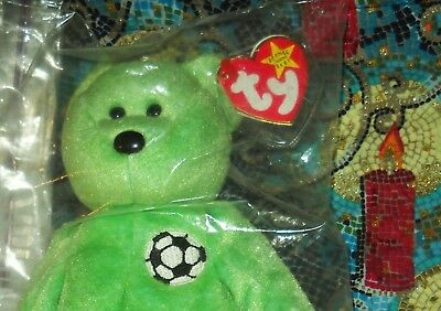 TY Beanie Baby KICKS Green Soccer Bear Plush Bean Bag Toy - New In Bag With Tag!