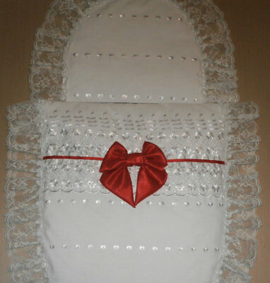 White Broderie Anglais & White Lace with Red Satin Bow Moses Basket or Baby Pram