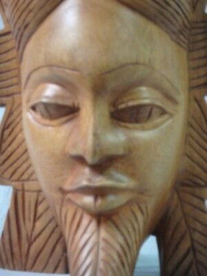 Carved African Face Plant Stand - African Hand Carved