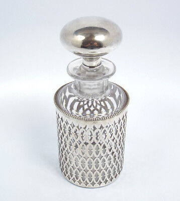 Antique Glass Dresser Jar w/ Reticulated Sterling Silver Cover & Stopper, #298