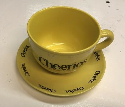 Lrg. Yellow Cheerios Cereal Cup Mug Bowl with Handle and Matching Saucer