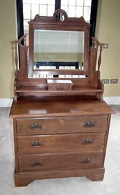Antique original wooden 3 x drawer dressing table with mirror in good condition
