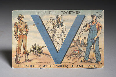 Vintage WWII Victory Postcard The Soldier The Sailer and You