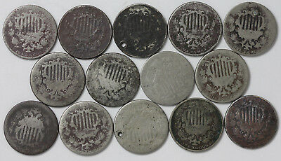 Shield Nickels 28 Coin Mixed Date Lot Problem Coins Culls