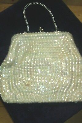 Vintage 1980's Sequined and Beaded Womens Evening Clutch BagGood Condition.
