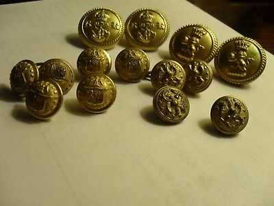 14 Antique Metal Military Uniform Buttons, NY State, British, Unidentified
