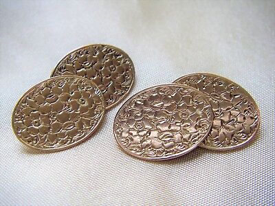 Antique 9Ct Yellow Gold Double-Oval Engraved Cufflinks