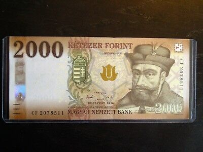 2016 Budapest Hungary Hungarian 2000 Forint Cf 2078511 Unc Banknote Hard Sleeve