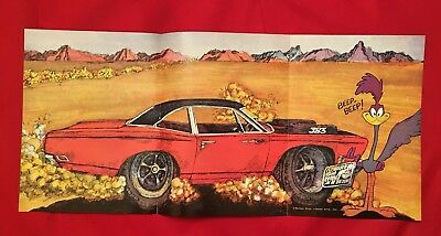 1969 Plymouth Road Runner Car of the Year Poster Magazine Insert 11 x 24 Inches