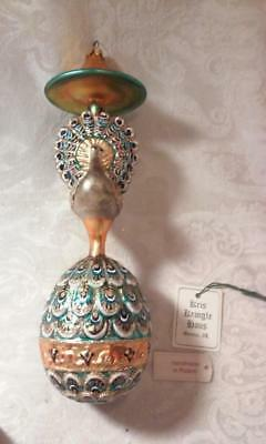 Slavic Treasures, Blown Glass Peacock Ornament, in box with tag.