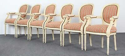 Pair of French Louis XVI Distressed Painted Dining Chairs Fauteuil Armchairs
