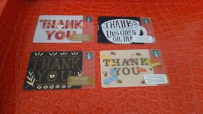 """Lot of 4 Starbucks gift cards,""""Thank You"""" New, PIN Intact, Unswiped."""
