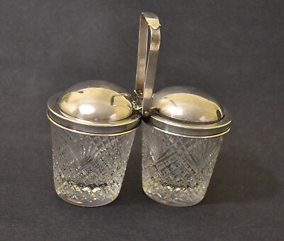 Tiffany Sterling Hawkes Cut Glass Silver Double Jam Jar - Monograms