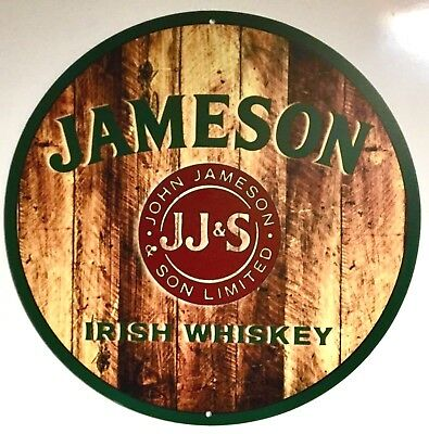 JAMESON WHISKEY METAL SIGN - VERY COOL PRINTED WOOD DESIGN - 14 inch Diameter