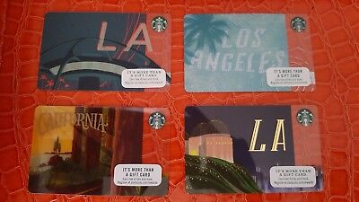 """Lot of 4 Starbucks gift cards,""""LA/Cali City Cards"""" New, PIN Intact, Unswiped."""