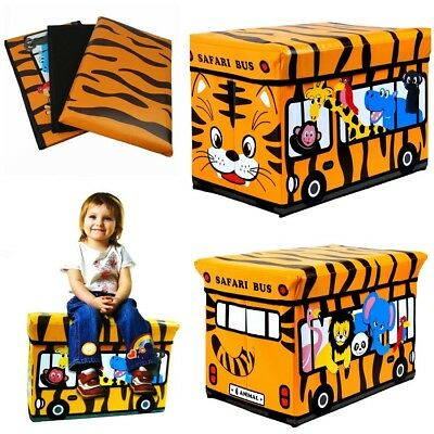 Foldable Kids Storage Box / Chest Comfortable Padded Seat Store Toys Games Cloth