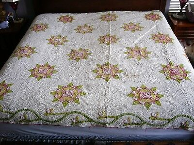 Antique Applique QUILT Turkey Red, Green, Yellow CAESAR'S CROWN - Well Loved  #1