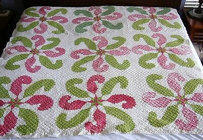 Antique Appliqued QUILT White, Red, Green PRINCESS FEATHERS w/ 8 Pt STAR -  #2