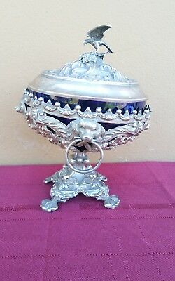 Rare Antique Ornate 1881 Austro Hungary 813 Silver Bowl w Spaniel Dogs + Eagle