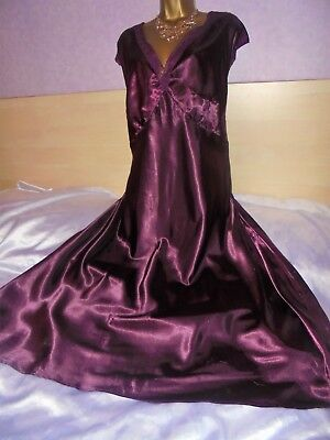Stunning vtg Glossy ruby  satin nightie dress slip negligee nightdress 30/32 xxl
