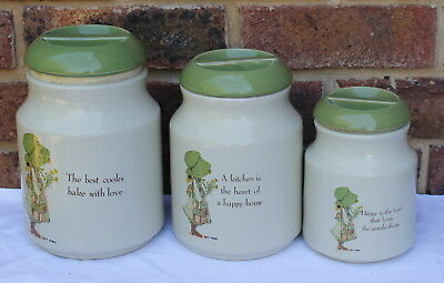 HOLLY HOBBIE COUNTRY LIVING, GREEN TRIM set of 3 full size CANNISTERS