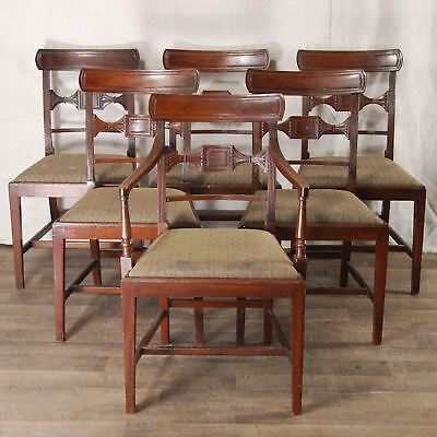 Set Six 19th c English sheraton style mahogany dining chairs Carved Backs Solid