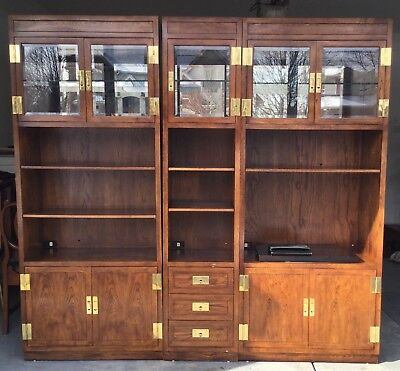 HENREDON Scene One  Campaign Style Pecan 3 Piece Modular Wall Unit by Henredon