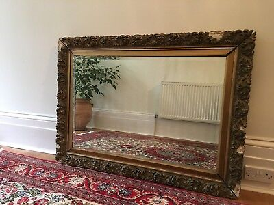 Victorian mirror, gilded gesso frame with superb bevelled glass